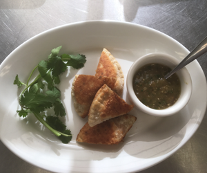 Sweet Potato and Lime Empanada Bites with Salsa Verde.  By City Farm Events Boston.