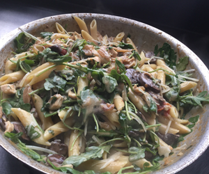 Penne with Spinach and Mushrooms in the pan.  By City Farm Events Boston.