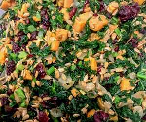 Our Kale Salad.  With Kale, Sweet Potato, Cranberry, Sweet Onions & Sunflower Seeds.  By City Farm Events Boston.