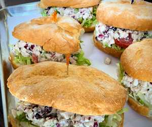 Fresh Chicken Salad on Portuguese Roll. By City Farm Events Boston.