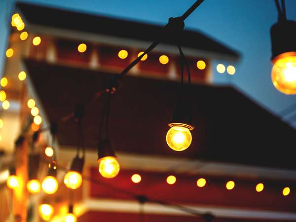 Red Barn with String Lights